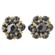 Schiaparelli Black Glass Faceted Earrings