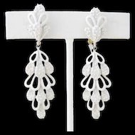 Trifari Dangle White Enamel Cactus Earrings