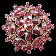 Czechoslovakia Rose Cut Garnet Pin