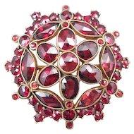 Czechoslovakia Rose Cut Garnet Pin