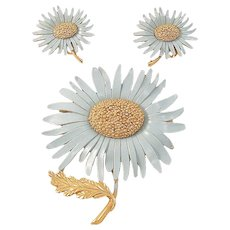 Marvella Blue Enamel Daisy Flower Pin and Earrings