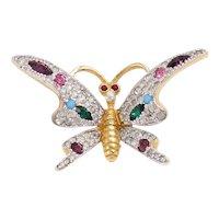 Jomaz Vintage Rhinestone Butterfly Brooch/Pin