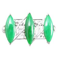 Art Deco Jade and 14k White Gold Brooch