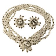 Miriam Haskell Crystal Bead and Rhinestone Necklace and Earrings