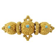 Victorian 18k Yellow Gold and Turquoise Ornate Brooch/Pin