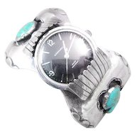 Navajo Sterling Turquoise Watch Cuff Band and Watch