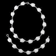 Danecraft Sterling Double Leaf Necklace & Bracelet