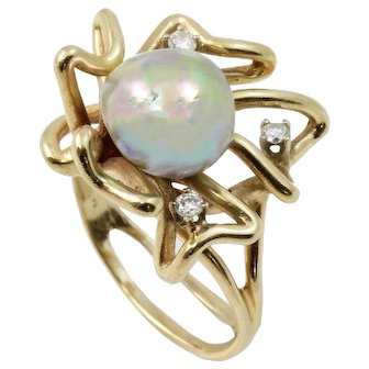 Vintage Studio 14k Yellow Gold, Diamond and Blister Pearl Ring