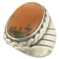 Navajo Agate Petrified Wood Stone Sterling Silver Ring