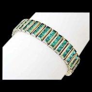 Art Deco Leach & Miller Sterling Emerald Green Rhinestone Bracelet, Circa 1925