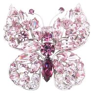 Regency Lavender Purple Rhinestone Butterfly Pin