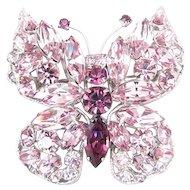 Regency Lavender Purple Rhinestone Butterfly Pin