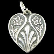 Vintage Double Flower Sterling Silver Heart Charm