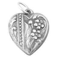 Vintage Flower Sterling Silver Heart Charm