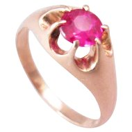 Antique Early 1900s 14k Gold Lab Ruby Ring Belcher Setting
