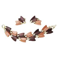 Lisner Thermoset Lucite Bracelet & Earrings