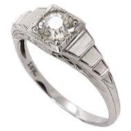 Art Deco .55 ct. Diamond 18k White Gold Ring