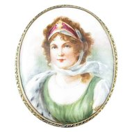 1900s Queen Louise of Prussia Porcelain Pendant Brooch