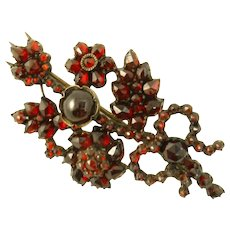 Victorian Bohemian Garnet Flower and Bow Pin