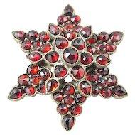 Victorian Bohemian Garnet Star Pin/Brooch