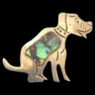 Sterling 950 Dog Pin with Abalone by BETO