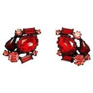 Robert Garnet Red & Pink Rhinestone Earrings