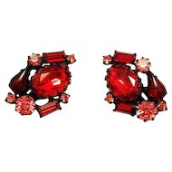 Robert Garnet Red & Pink Rhinestone Earrings