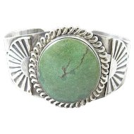 Native American Navajo Cerrillos Turquoise Sterling Cuff Bracelet