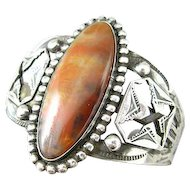 Native American Navajo Sterling and Petrified Wood Cuff Bracelet