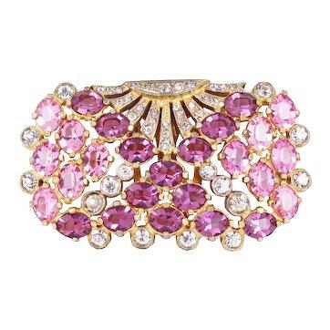 Eisenberg OriginalLight Pink and Amethyst Rhinestone Dress Clip