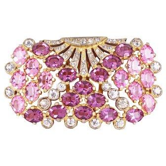 Eisenberg Original Pink and Amethyst Rhinestone Dress Clip