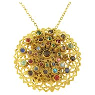 Colorful Rhinestone Filigree Coin/Change Holder Pendant Necklace