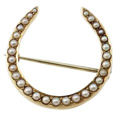 Antique Riker Brothers 14k Gold & Pearl Horseshoe Pin/Brooch