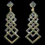 Amazing Green & Blue Rhinestone Pendant Earrings by Art