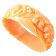 Coral Celluloid Lily of the Valley, Rose and Elephant Bracelet