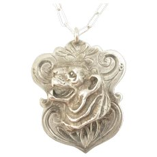 Victorian Sterling Silver Tiger Fob/Pendant Necklace