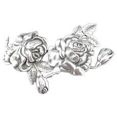 Margot de Taxco Sterling Silver Rose Pin