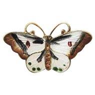 Ox  Sterling Enamel Butterfly Pendant/Necklace