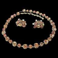 Continental Rhinestone Necklace & Earrings