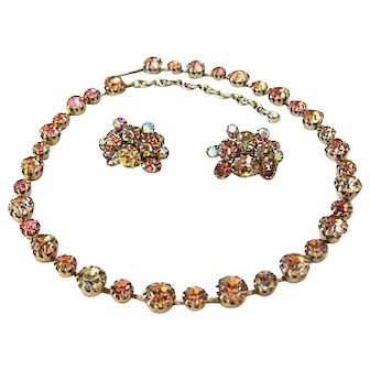 Continental Rhinestone Necklace & Earrings