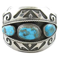 Native American Navajo Sterling Overlay Turquoise Cuff Bracelet