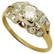 Vintage 14k and 18k Gold and.49 cttw Diamond Ring