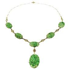 Carved Jadeite Jade 14k Gold Necklace