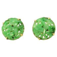 Carved Jadeite Jade 14k Gold Earrings