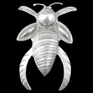Vintage Native American Navajo Sterling Large Bug Pin