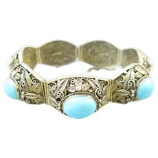 Chinese Export Silver Filigree Turquoise Bracelet