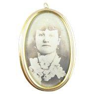 Gold Picture Photo Pendant/Pin ca 1900s