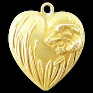 Rare Tiger in Cattails Victorian Gold Filled Puffy Heart Charm