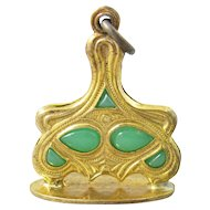 Art Nouveau Green Glass Watch Fob