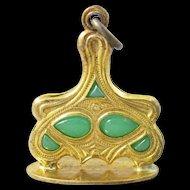 Art Nouveau Green Glass Watch Fob